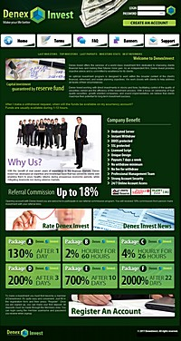 HYIP denexinvest screenshot home page