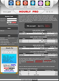 HYIP hourlypro screenshot home page