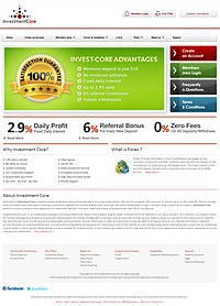 HYIP investmentcore screenshot home page