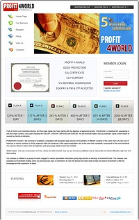 HYIP profit4world screenshot home page