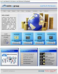 HYIP maximfxgroup screenshot home page