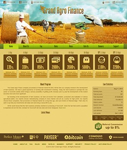HYIP grandagrofinance screenshot home page