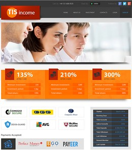 HYIP tisincome screenshot home page