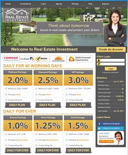HYIP realestateinv screenshot home page