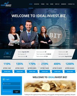 HYIP idealinvest screenshot home page