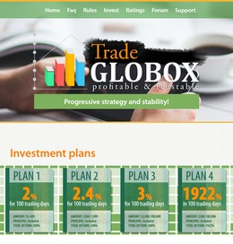 HYIP globoxtrade.com screenshot home page