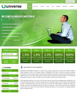 HYIP universeinvestment.com screenshot home page
