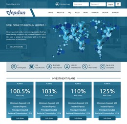 HYIP depdun.com screenshot home page