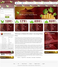 HYIP marketdividend screenshot home page