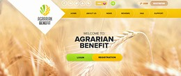 HYIP agrarian-benefit.com screenshot home page