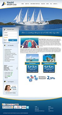 HYIP yachtwealthclub screenshot home page