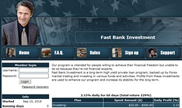 HYIP fastbankinv.online screenshot home page