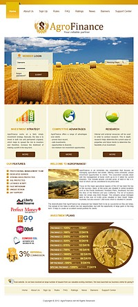HYIP agrofinance screenshot home page