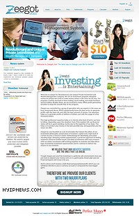 HYIP zeegot screenshot home page