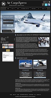 HYIP aircargoxpress screenshot home page