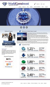 HYIP worldgemsinvest screenshot home page