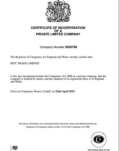 BITC Trade Certificate of Incorporation
